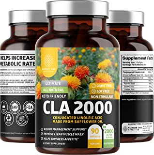 N1N Premium CLA 2000 [Max Strength, Non-Stimulant] Natural Weight Loss Supplement for Men & Women, Active Conjugated Linol...