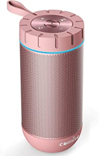 COMISO Waterproof Bluetooth Speakers Outdoor Wireless Portable Speaker with 24 Hours Playtime Superior Sound for Camping, Beach, Sports, Pool Party, Shower (Rose Gold)