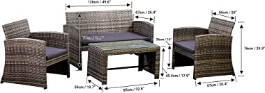 Amazon Basics Outdoor Patio Garden PE Rattan Textured Faux Wicker Modular Sofa - 4-Piece Set, Brown and Grey Rattan