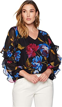 Plus Size Ruffle Sleeve Top