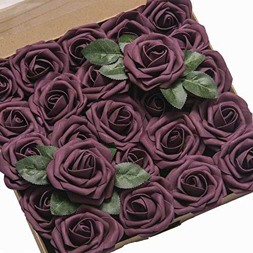 Little Birdie Boutique Elements Rose buds handmade paper purple plum 20 Pcs
