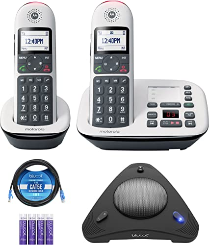 wholesale Motorola outlet online sale CD5012 CD5 Series Digital Cordless Telephone with Answering Machine (2 Handsets) Bundle with Blucoil 4 AAA Batteries, 10' Cat5 Cable, and 2021 USB Conference Speakerphone outlet sale