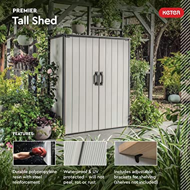 Keter Premier Tall Resin Outdoor Storage Shed with Shelving Brackets for Patio Furniture, Pool Accessories, and Bikes, Grey &