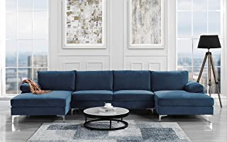 Modern Large Velvet Fabric U-Shape Sectional Sofa, Double Extra Wide Chaise Lounge Couch (Navy)