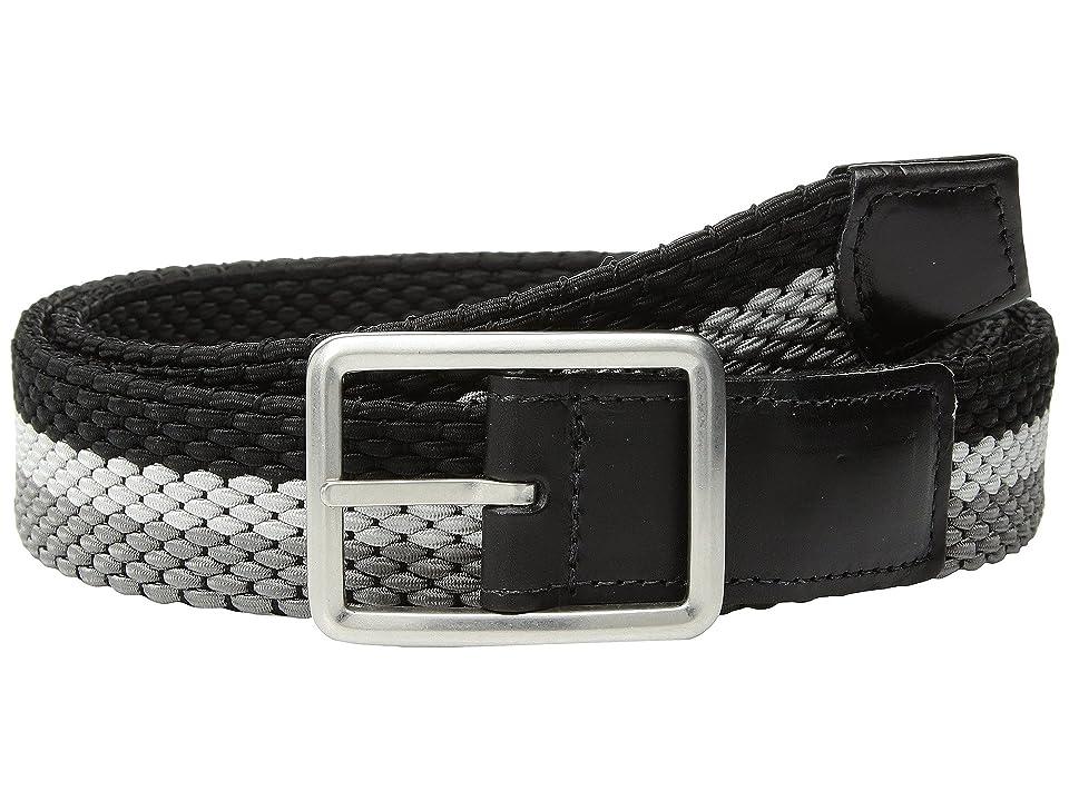 Torino Leather Co. 35mm Italian Woven Tri-Stripe Reversible Elastic (Grey/Nickle/Black) Men