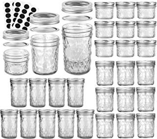 VERONES Mason Jars Canning Jars, Jelly Jars With Regular Lids, Ideal for Jam, Honey, Wedding Favors, Shower Favors, Baby Foods, DIY Magnetic Spice Jars, 4 OZ x 10, 6 OZ x 10, 8 OZ x 10