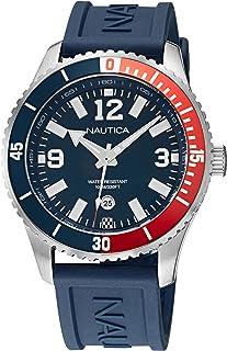 ساعة نوتيكا للرجال ستانلس ستيل كوارتز بسوار من السيليكون - ازرق، 22 كاجوال (NAPPBS159)