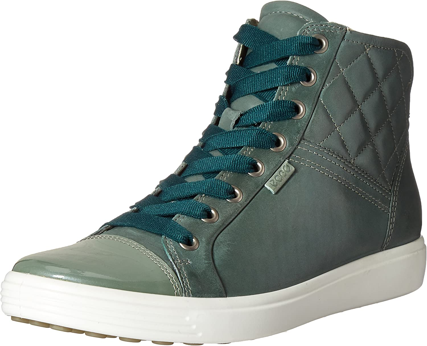 ECCO shoes Women's Soft 7 Hightop Quilted Lace up shoes, Frosty Green, 42 EU 11-11.5 M US