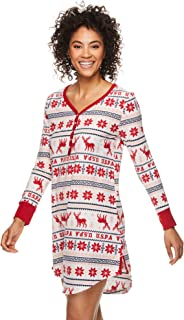 Womens Long Sleeve Dorm Pajama Sleep Lounge Nightshirt with Socks