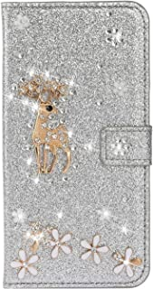 Cfrau Glitter Flip Case with Black Stylus for Huawei Mate 20 Lite,Luxury Diamond 3D Crystal Flower Cute Deer Magnetic Wallet Soft PU Leather Stand Shockproof Case for Huawei Mate 20 Lite,Rainbow Pink