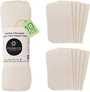 Reusable Unpaper Towels Washable - Bamboo Nature Friendly Paper Towels Organic Cotton - Thick, Strong, Paperless Kitchen R...