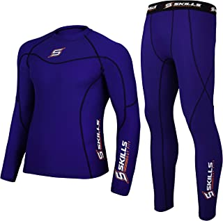 Skills Men's Compression Armour Base layer Top Skin Fit Shirt + Pants / Tights set