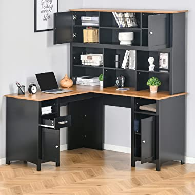 HOMCOM L-Shaped Corner Computer Desk with Hutch, Home Office Desk Study Workstation Table with 4 Storage Cabinets, Shelves an