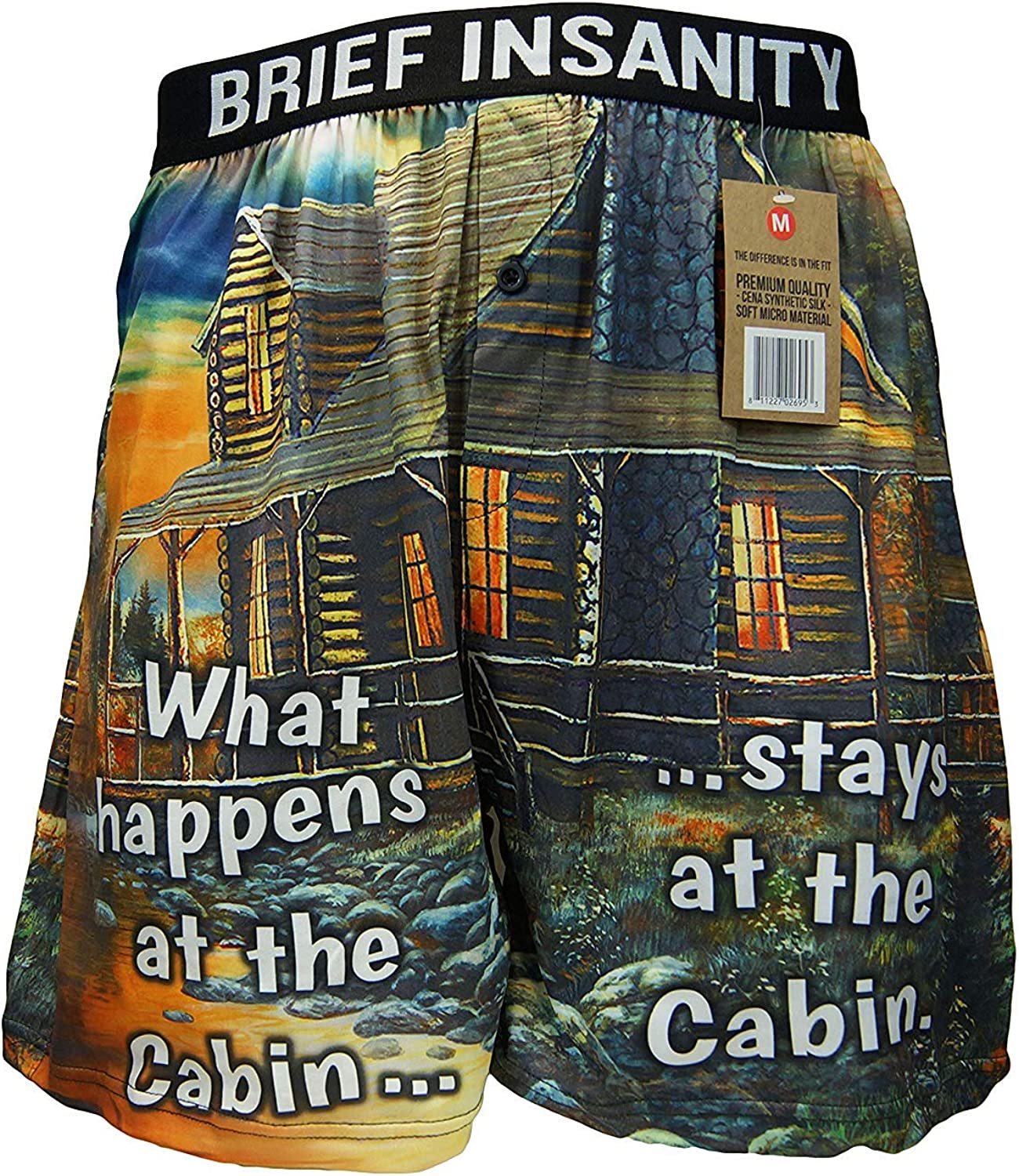 BRIEF INSANITY Boxer Briefs for Men and Women | Cabin Boxer Shorts - Soft, Comfy Underwear