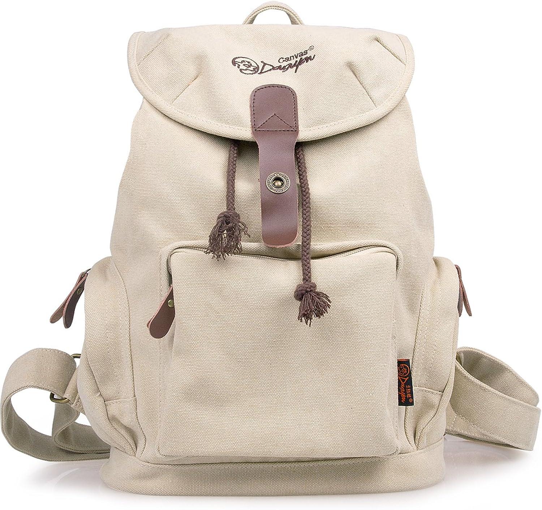 DGY Women's Korean Fashion Canvas Backpack G00117 Beige