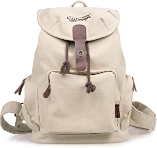 Women Retro Canvas Backpack Casual Backpack for Women College Backpack G00117 White Star