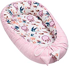 Solvera_Ltd Babynest 2seitig Kokon öko Babybett Nestchen für Neugeborene 100% Baumwolle Kuschelnest Weiches und sicheres Baby-Reisebett 50x90 Schluckt/Rosa