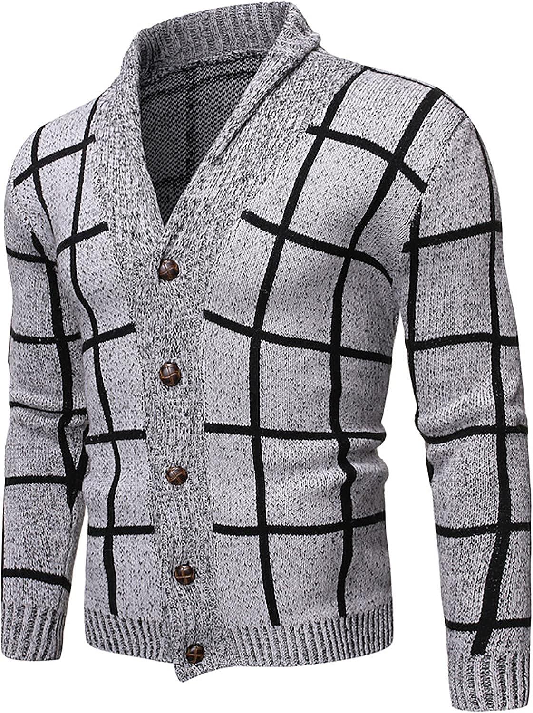 Men's Knitwear Jacket Fashion Color-Blocking Plaid Lapel Casual Long Sleeve Button Henley Sweater Coat Jacket