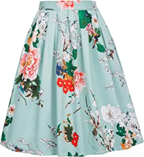 Women Vintage Pleated A-line Midi Skirts (Multi-Colored)