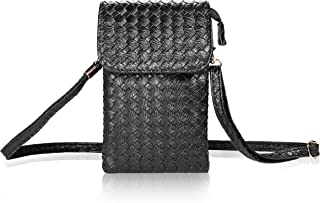 Bosam Woven Leather Cell Phone Crossbody Bag Small Purse iPhone 7 Plus 5.5inch Cell Phones