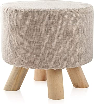 IBUYKE Footstool Solid Wood Ottoman Small Stool Sofa Tea Stool Change Shoes Bench Footrest Stepstool Padded Seat Wooden Legs Living Room Bedroom GL-469