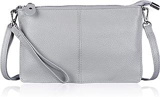 Befen Leder-Clutch, Geldbörse, kleine Umhängetasche für Damen, Neutralgrau, Small