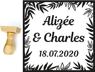 Timbro matrimonio personalizzato stile tropicale, esotico, giungla, forma quadrata 4 cm, con nomi e data