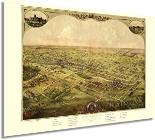 HISTORIX Vintage 1886 Lansing Michigan Map Poster - 24x36 Inch Lansing Michigan Vintage Map - Bird's Eye View of The City ...