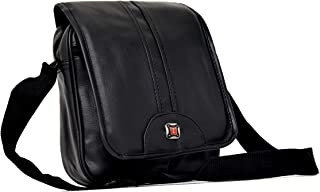 RK Brands Black Leather Sling Bag with 3 Pockets, Velcro and Flap