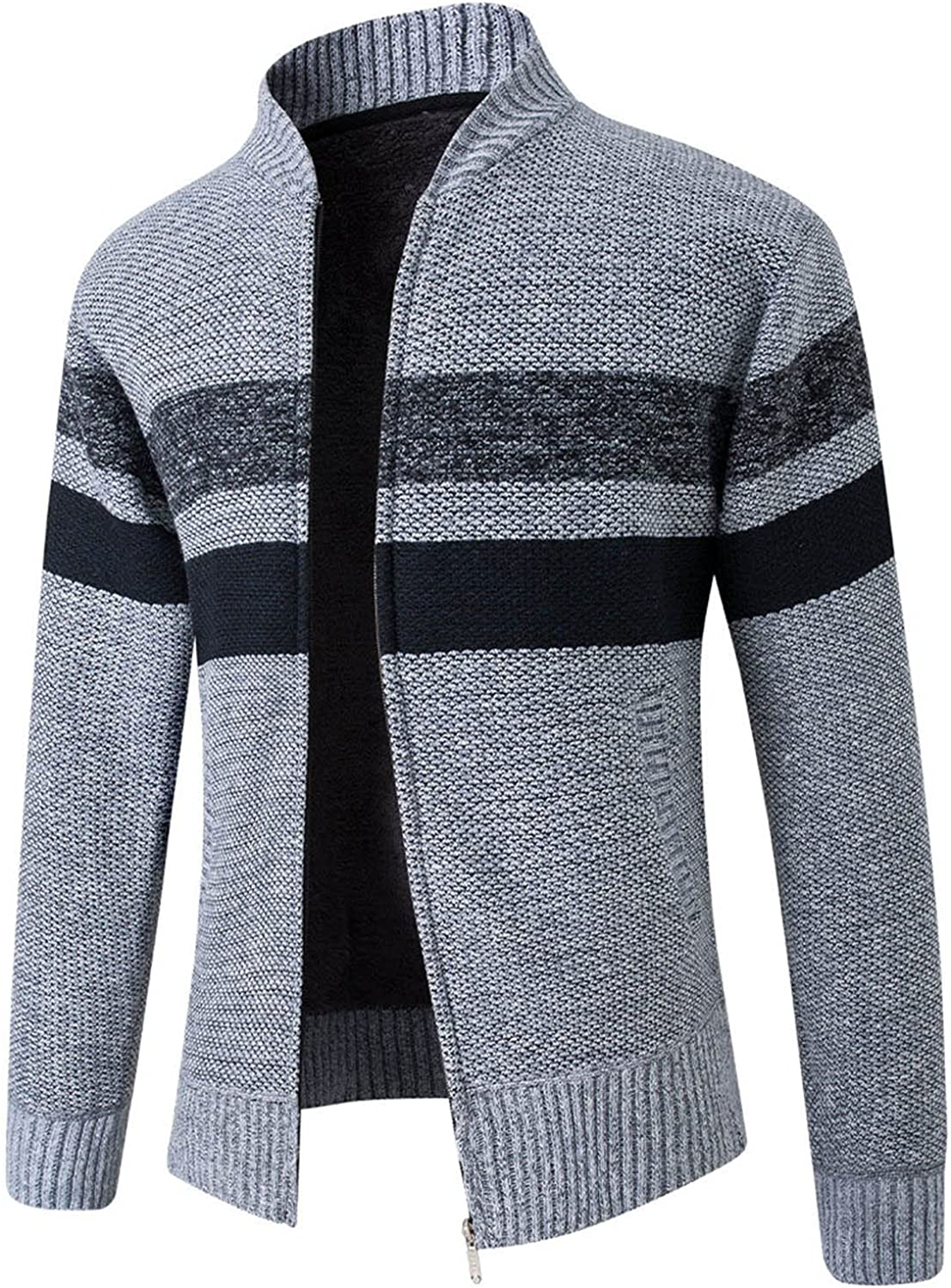 HONGJ Sweater Jackets for Mens, Zipper Stand-up Collar Knitted Cardigan Coat Long Sleeve Color Block Patchwork Outerwear