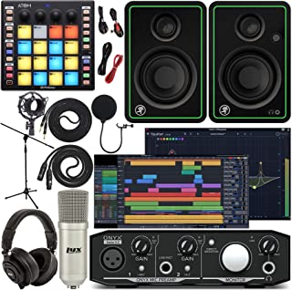 Mackie Onyx Artist 1-2 Audio Interface With Pro Tools First Music Software, ATOM Midi Production Pad Controller, CR4-X Mon...