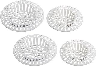 WENKO Afvoerzeef wit set van 4 - set van 4, verzamelt keukenresten, metaal, 6 x 6 cm, wit