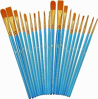 مجموعه قلم مو ، 2 عدد برس 20 عددی نایلون برس مو برای اکریلیک نوک تیز رنگ روغن نقاشی آبرنگ نقاشی آبرنگ هنرمند قلم موهای حرفه ای ، کیت های نقاشی سنگ کدو تنبل هالووین ، لوازم صنایع دستی