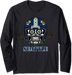 Seattle Football Helmet Sugar Skull Day Of The Dead Long Sleeve T-Shirt