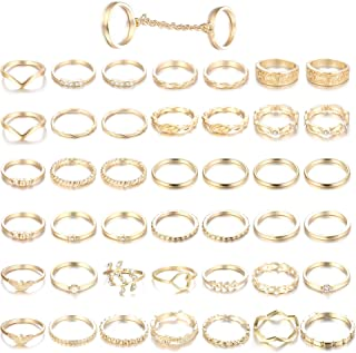 43PCS Knuckle Rings for Women Mid Finger Stackable Rings Set Gold Tone