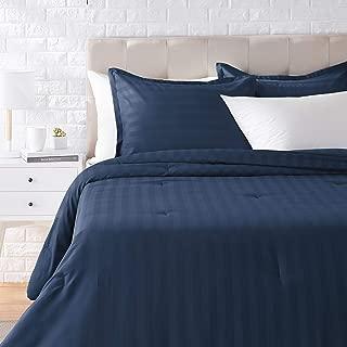 AmazonBasics Woven Damask Stripe Comforter Set - Premium, Soft, Easy-Wash Microfiber - King, Navy Blue