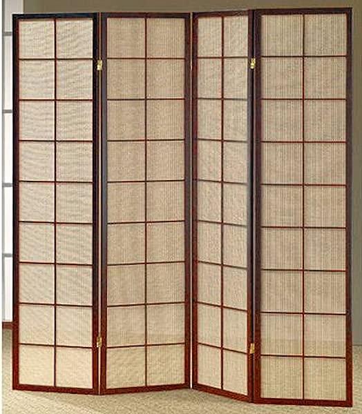 遗产装饰织物在躺式折叠房间屏幕隔断在樱桃完成木材 4 面板
