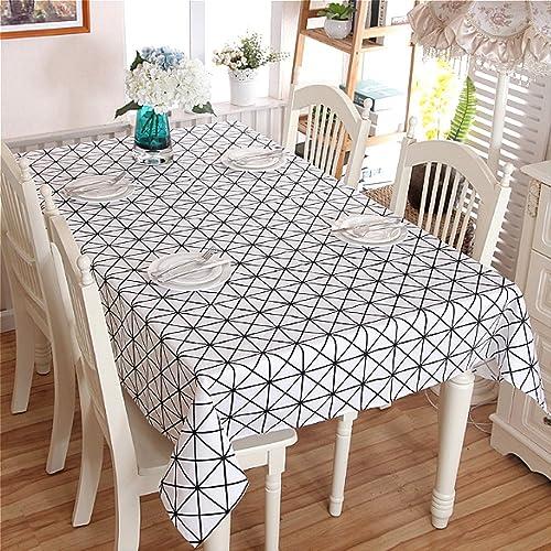 ROMEYA 1 Nappe de table noir et blanc géométrique triangles coton épais Rectangle Table de salle à hommeger multi-usages tissu décoration Art approprié à la maison moderne et simple Cuisine table à hommeg