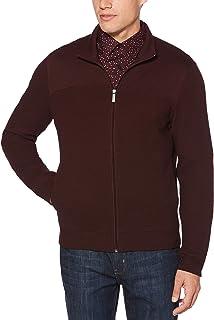 Perry Ellis Men`s Cotton Blend Full Zip Texture Knit Jacket