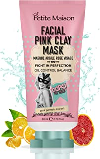 Petite Maison Pink Clay Mask - Facial Cleansing Pore Minimizer - Brightening Purifying Bentonite Clay Face Masks - Acne Pore Reducer Detoxifying Skin Care Facemask Natural Healing Beauty 2.70 fl oz