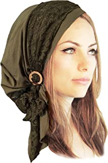 Boho Chic pre-Tied Headscarf Gorgeous Vintage lace wrap Handmade Coconut Buckles - 131 Olive Green