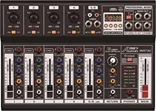 Audio2000'S AMX7362 Six-Channel Audio Mixer with USB 5V Power Supply, USB Interface, and Sound Effect