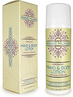 Organic Hand Lotion, Intensive Hand Cream and Body Lotion, Nourishes Dry Skin with Organic Oils, Vitamin B5 and Green Tea, Delicious Scent, 5 Ounces