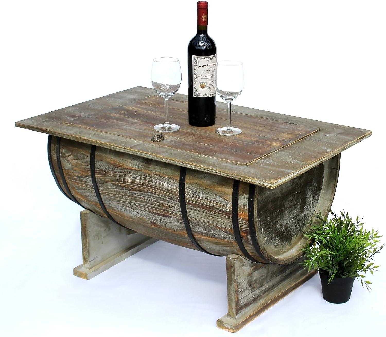 DanDiBo Couchtisch Wohnzimmer Vintage halbiertes Weinfass 5084-H 80cm Tisch aus Holz Beistelltisch Weinregal Fass Bar
