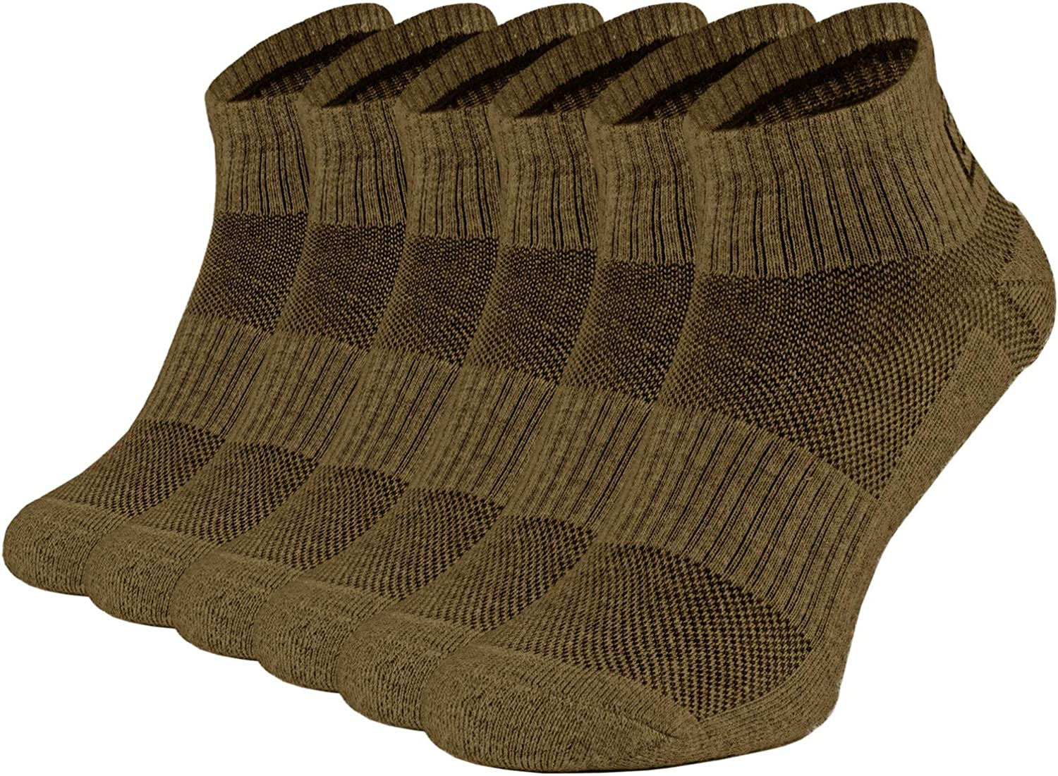 281Z Running Cushion Ankle Low Cut Socks - Athletic Hiking Sport Workout (Coyote Brown)