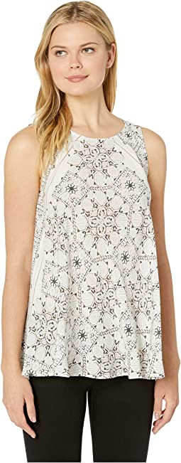 Printed Challis Handkerchief Sleeveless Blouse