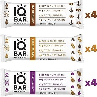 IQ BAR Brain + Body Bars, Chocolate Lovers Variety | Keto, Paleo-Friendly, Vegan | 10-11g Protein, <1g Sugar, 4g Net Carbs | Non-GMO, Gluten-Free, No Sugar Alcohols | 12-Count (3 Flavors)