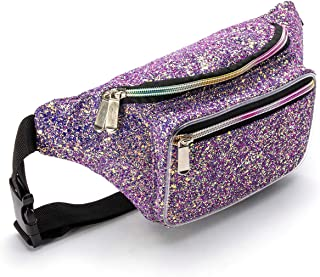 Holographic Purple Gravel Rave Fanny Pack for Women Grils Festival Waist Belt Bags - Purple Gravel