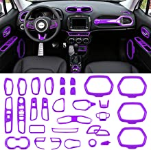 Danti Car Interior Accessories Decoration Cover Trim Air Conditioning Vent Decoration & Door Speaker & Water Cup Holder & Window Lift Button Covers for Jeep Renegade 2015-2020 (Purple)