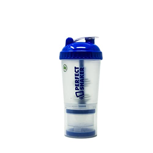 Performa Blue Shaker Cup - 24oz Protein Bottle with Storage Compartment, Advanced Actionrod Blender & Mixer Element! Dishwasher Safe and Shatter Proof